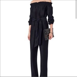 INTERMIX chambray belted off the shoulder jumpsuit